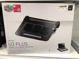 Cooler Master Notepal U3 Plus movable fan aluminium Cooling pad laptop cooler 19""