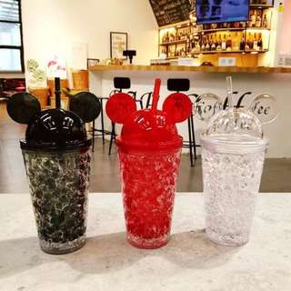 🚚 剩紅色/黑色 米奇創意雙層冰酷杯