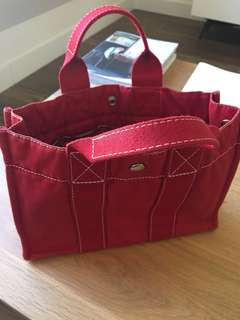 二手 Hermes tote red canvas 手挽忛布袋