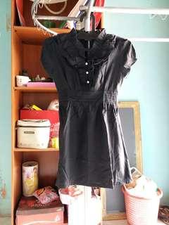 raspberry short dress hitam black pendek