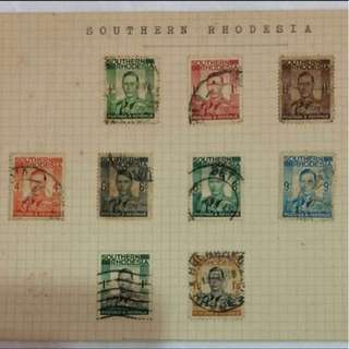 Stamp - Southern Rhodesia 1937 - Postage & Revenue King George VI (set of 9)