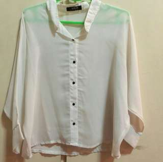 White Long Sleeved Button Down Sheer Top