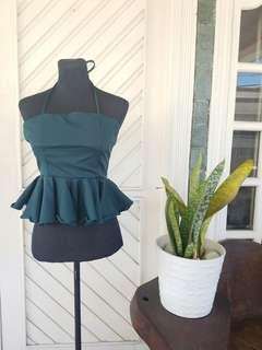 REPRICED | Bangkok Peplum Sleeveless Top in Dark Blue Green
