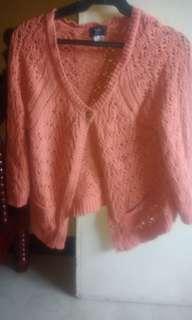 Orange knitted jacket