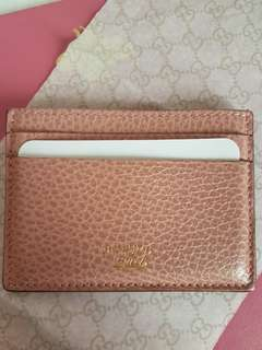 Authentic GUCCI Swing Leather card case in pink
