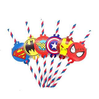💥 Superheroes Avengers Justice League Party Supplies - Straws / Party Deco / Candy Bar Deco