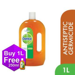 Dettol Brown Liquid 1L FOC 250ml