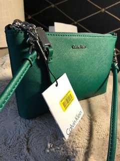 Calvin Klein Green Saffiano Leather Chainlink Crossbody Bag