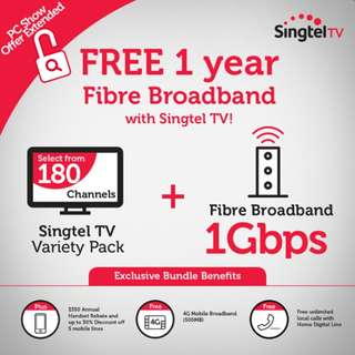 Singtel Fibre Broadband 1 Gbps with Singtel TV (Swagatam + (telegu package)) - 9 month contract remaining
