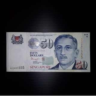 "Singapore S$50 Dollar Bill with Nice Number : "" 4CZ551555 "" (UNC)"