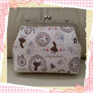 包郵DIY 自家製 口金包 古銅色鍊單肩手袋 迪士尼愛麗絲圖案啪啪袋