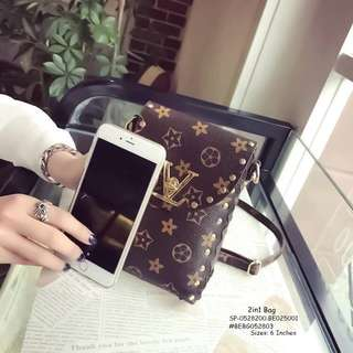 2IN1 BAG With Coinpurse SIZE : 6 inch ONE COLOR ONLY  Price : 400