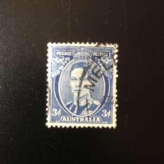 Stamp - Australia 1936 - 3d Blue King George V Die III (rare)