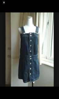 🚚 日本知名品牌 Super Hukka  深藍 純棉牛仔背心裙