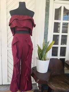Bangkok Ruffled Terno in Maroon | Off-Shoulder Crop Top & Pants