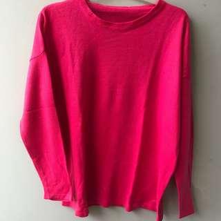Baju sweater rajut pink