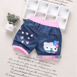 Hello Kitty Design Summer Children Kid Denim Shorts