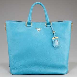 Prada Vitello Daino Huge Shopper Tote with Side Zipper in Turquoise