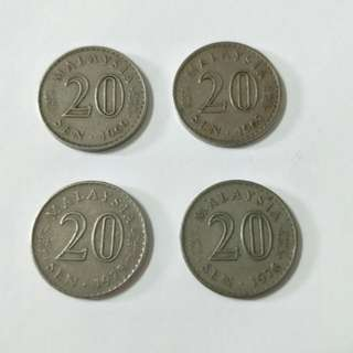 Duit Syiling Lama Tahun 1967, 1969, 1976 & 1973