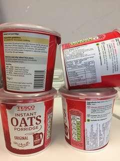 包郵 Tesco 即食燕麥粥 Oatmeal Porridge x4 四個