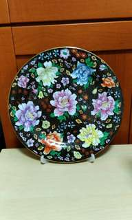 Vintage Chinese ceramic hand painted decorated plate.