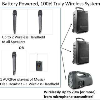 For Rent: 100% Wireless Battery Powered Portable PA System