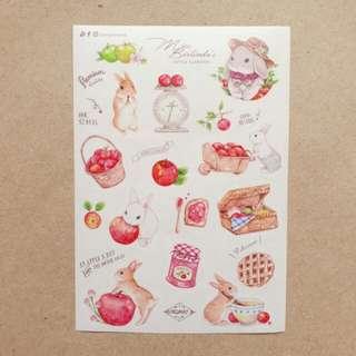 Kuma Yankee Miss Belinda's Apple Garden Premium Washi Stickers (A6)