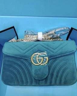 Gucci marmont velvet turquiose bag