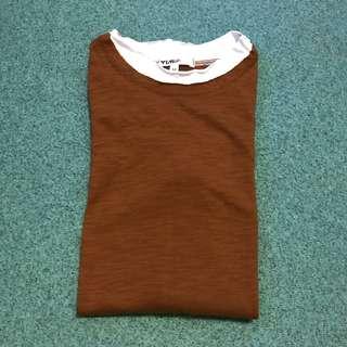🚚 👕咖啡色假兩件長袖薄棉料上衣 M號