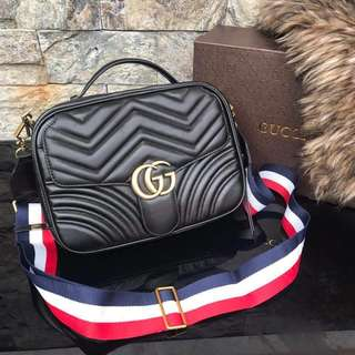 Gucci Marmont Chevron Quilted Leather Top Handle Camera Bag