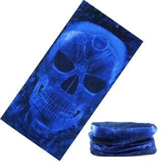 🆕! Blue Speed Demon Mask Scarf Half Face on Neck 2 style Bandana    #OK