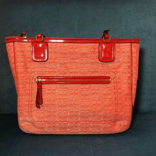 Coach Red-Orange Tote Bag (Medium Sized)