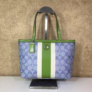 COACH 49096 SIGNATURE STRIPE TOP HANDLE TOTE