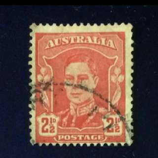 Stamp - Australia 1942 - 2½d Scarlet King George VI (hinged)