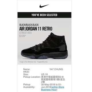 Air Jordan 11 RETRO Black 'Cap and Gown' (378037-005) US 10 AJ11 AJ 11