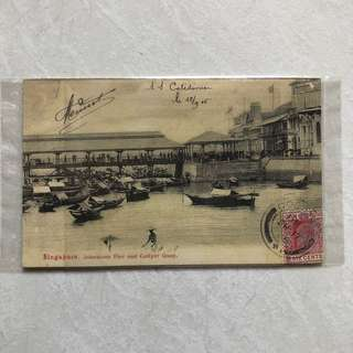 Vintage Old Postcard - Very old Post Card of Johnstons Pier and Collyer Quay of Singapore