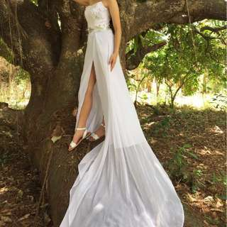 WHITE GOWN WITH SLIT FOR RENT