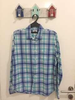 Kemeja Zara Kotak Biru Muda
