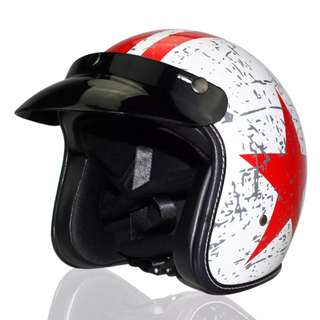 White with Red Stripe and Star Motorcycle Helmet Open Face Three Button Snap Retro Vintage Vespa Scooter Cafe Racer Motorbike Leather Gloss Old School