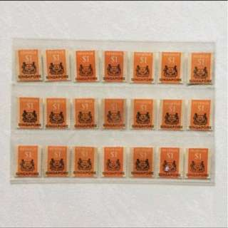 Stamp - Singapore 1960s $1 Revenue (21 pieces)