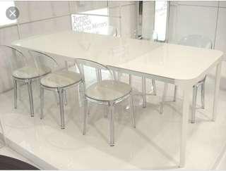 Vanity extending table white