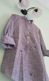 Vertical lines Grey No-collar Blouse