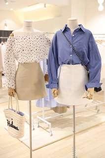 🚚 車縫線造型A字短裙 白色