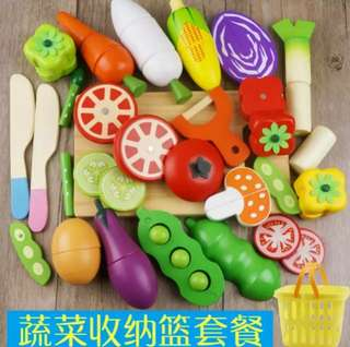 BN Wooden Magnetic Healthy Vegetables Cutting Foods Kitchen Play Set