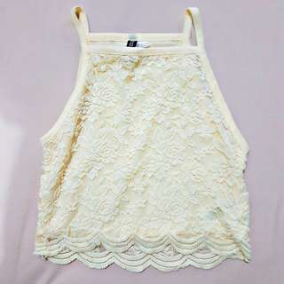 h&m yellow lace crop top