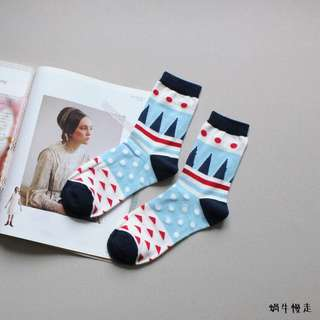 🚚 A029幾何撞色中短襪