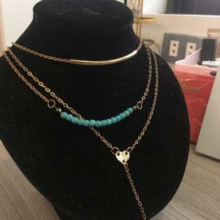Teal Gold Toned Layered Necklace