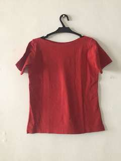 Red Boat Neck Blouse