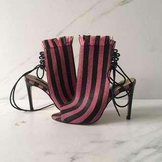 Zara Pink&Black Raffia Boots