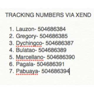 TRACKING NUMBERS VIA XEND